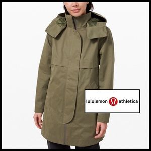 lulu lemon Rain Shaker Trench in Fatigue Green. 🆕